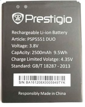 Аккумулятор (батарея) Prestigio PSP5551 MultiPhone Grace S5 2500mAh Оригинал