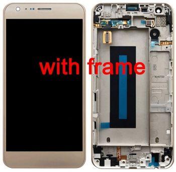 Дисплей LG K580, K580DS, F690L, F690S X Cam с сенсором (тачскрином) золотой с рамкой Оригинал