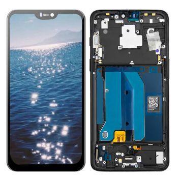 Дисплей OnePlus 6 A6000, A6003 с сенсором (тачскрином) черный с рамкой OLED