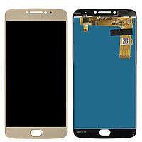 Дисплей (LCD) Motorola XT1770 Moto E4 Plus, XT1771, XT1775 с сенсором золотой + рамка Оригинал
