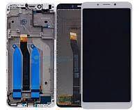 Дисплей (LCD) Xiaomi Redmi 6, Redmi 6A с сенсором белый + рамка Оригинал