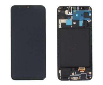 Дисплей Samsung A205 (SM-A205F) Galaxy A20 2019 с сенсором (тачскрином) черный с рамкой Оригинал